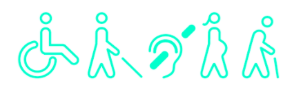"""There are five images. The left-most is an outline of a person in awheelchair. Moving to the right is an outline of a person with a cane for the blind. The middle is an outline of an ear with a line through it to signify """"no hearing."""" Next, is anoutline of a pregnant woman. The right-most image is an outline of an elderly personslightly hunched over with a cane."""