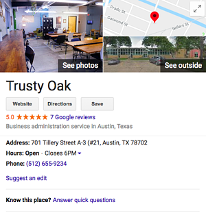 Trusty Oak Google Listing